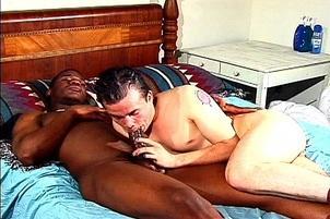 Awesomeinterracial.com- Sexy White Guy Slurping Down Black Dick