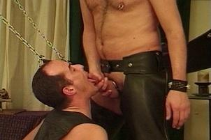 Awesomeinterracial.com- Two gay Men in Chaps Use a Sex Swing