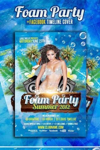 Foam Party Summer Flyer + Facebook Cover