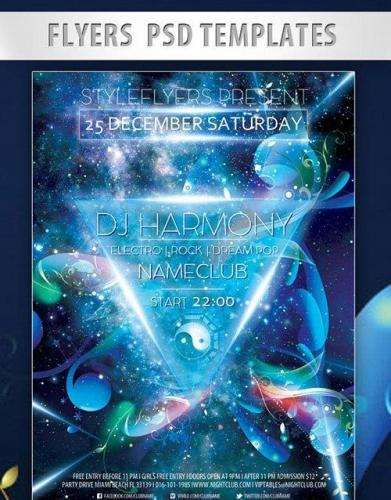 Dj Harmony Flyer PSD Template + Facebook Cover