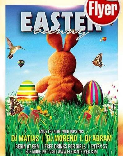 Easter Bunny Flyer PSD Template + Facebook Cover