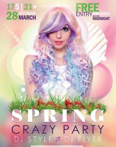 Spring Crazy Party V1 Flyer PSD Template