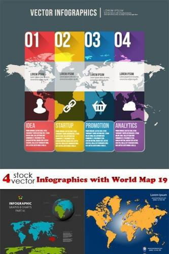 Vectors - Infographics with World Map 19