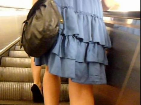 Hidden-Zone.com- Up1651# Girl in a Blue Dress. Beautiful shaved crotch in black panties with a lining.