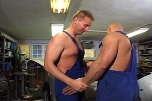 Awesomeinterracial.com- Bald Mechanic Takes a Dick up the Ass