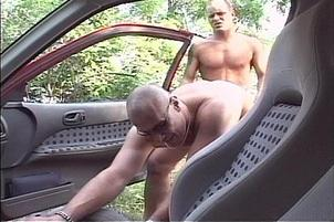 Awesomeinterracial.com- Bald Daddy Fucking Hunk Outside