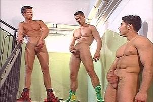 Awesomeinterracial.com- Three Guys And One Single Guy Jerk Off
