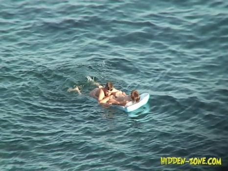 Hidden-Zone.com- Nu1227# A couple swam a little and moved to the shore_where she put her naked body under the sun