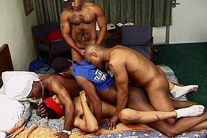 Awesomeinterracial.com- Five Black Guys Ass Fuck Poor White Boy