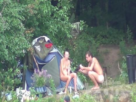 Hidden-Zone.com- Nu1265# The company of nudists is preparing for barbecues on a nude beach voyeur. Naked girl playf