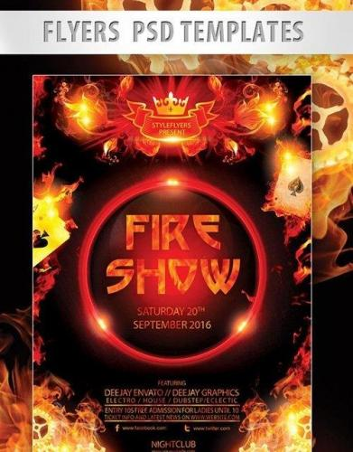 Fire Show Flyer PSD Template + Facebook Cover