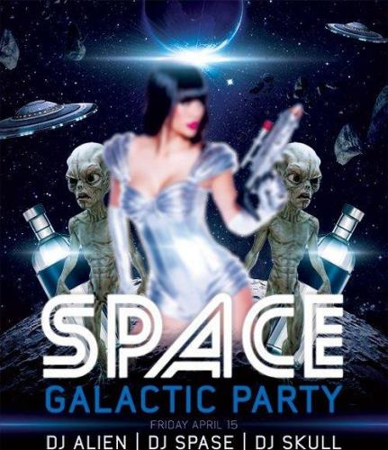 Space Galactic Party Flyer PSD Template