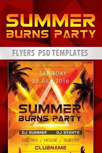 Summer Burns Party Flyer PSD Template