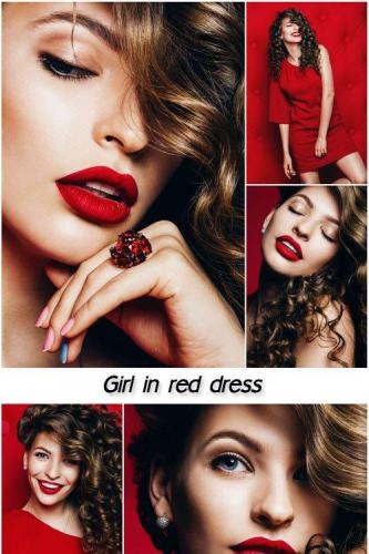 Girl in red dress, beautiful make-up
