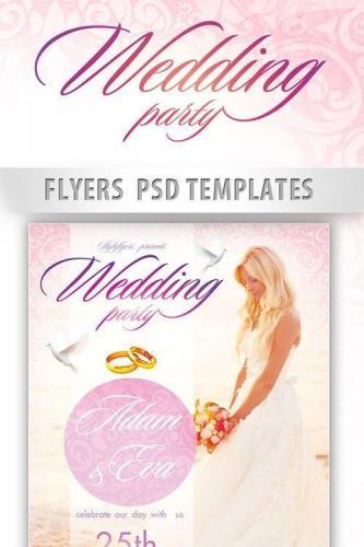 Wedding PSD Flyer PSD Template + Facebook Cover