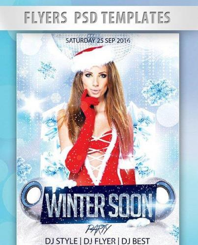 Winter Soon Party Flyer PSD Template