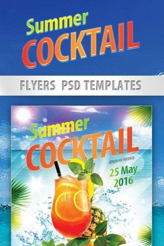 Summer Cocktails Party Flyer PSD Template