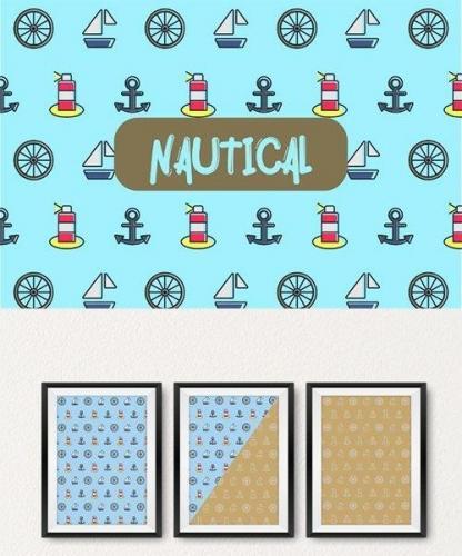 Nautical icon pattern