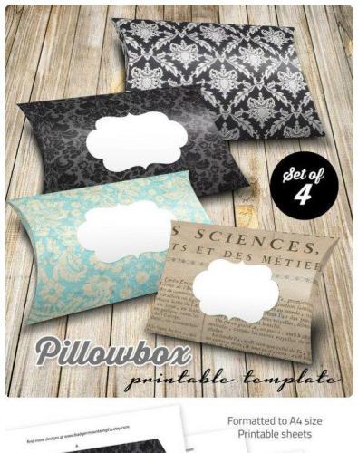 Pillowbox Printable PDF - damask