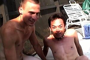 Awesomeinterracial.com- Skinny Asian Stud Squats Right Down On A Stiff Caucasian Cock