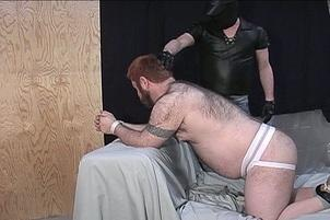 Awesomeinterracial.com- Ginger Haired Fatty Teddy Bear Sucks Hard Dick While Bound