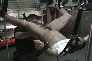 Awesomeinterracial.com- Restrained Stud Gets Anally Penetrated With Gloved Hands