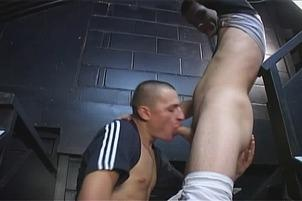 Awesomeinterracial.com- Horny Hooligans Have Risky Gay Sex In A Public Stairwell