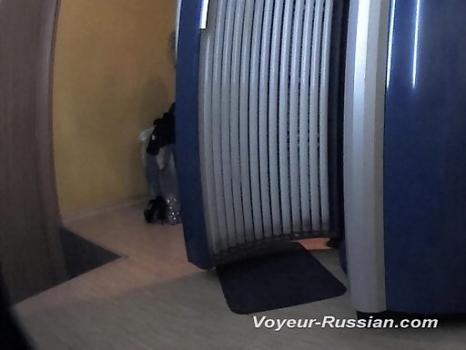 Hidden-Zone.com- Pv211# Another naked visitor of solarium spinning in front of a mirror. She had very large breast