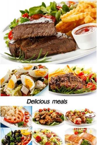 Delicious meals, meat, vegetables, seafood