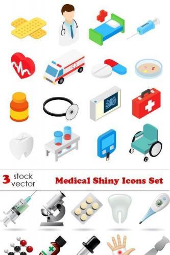 Vectors - Medical Shiny Icons Set