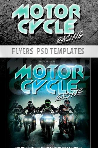 Motorcycle Racing Sport Flyer PSD Template + Facebook Cover