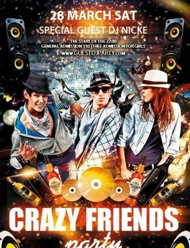 Crazy friends party Flyer PSD Template
