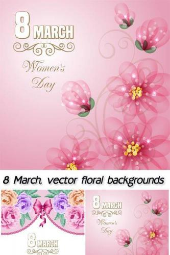 8 March, vector floral backgrounds