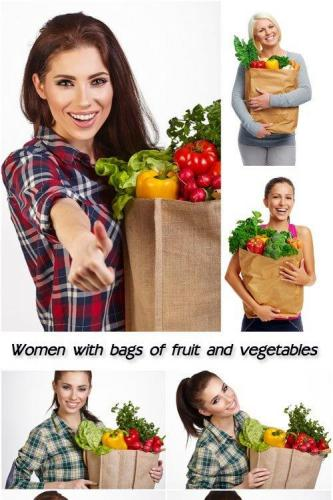 Women with bags of fresh fruit and vegetables