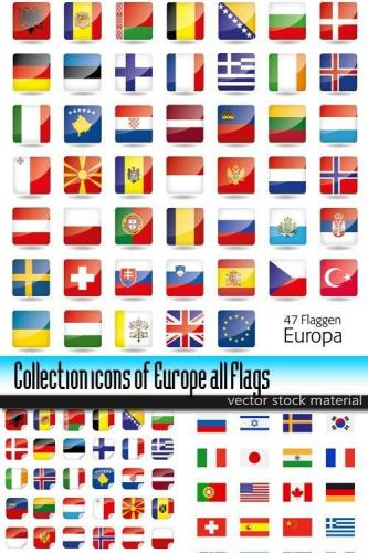 Collection icons of Europe all Flags