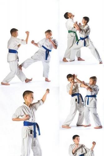 Karate Boy in Kimono on a White Background