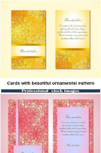 Cards with beautiful ornamental pattern