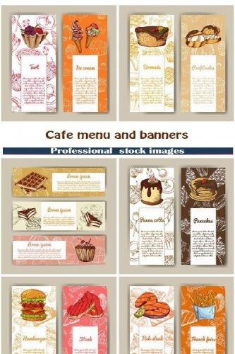 Cafe menu and banners with hand drawn design