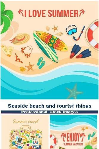 Seaside beach and tourist things