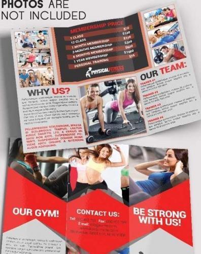Fitness V3 Tri-Fold Brochure PSD Template