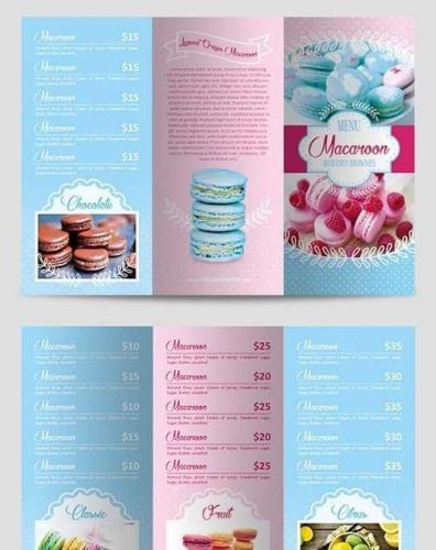 Menu Macaroon Tri-Fold Brochure PSD Template