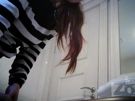 Hidden-Zone.com- Wc2245# Red-haired girl in black panties pee standing up. Another great model for girls toilets hi