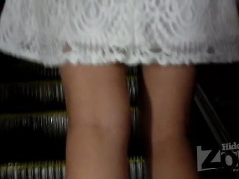 Hidden-Zone.com- Up2306# Slender girl in short white skirt. Beautiful round ass and crotch in white panties. Our up