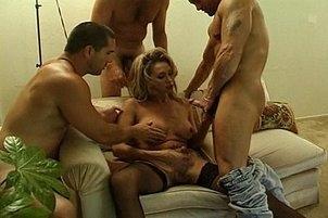 Awesomeinterracial.com- Busty Shemale Takes Three Stiff Cocks
