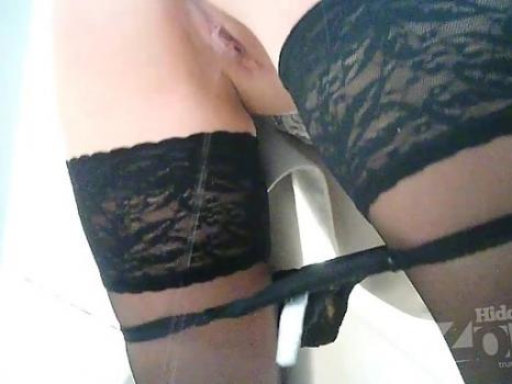 Hidden-Zone.com- Wc2374# The Young girl in black lace panties and stockings pee standing up. Our cameraman filmed on
